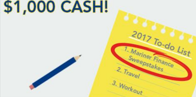 Mariner Finance - $1000 Cash Sweepstakes